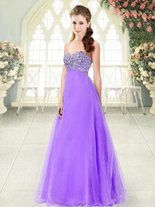 Lavender Sleeveless Tulle Lace Up Prom Gown for Prom and Party