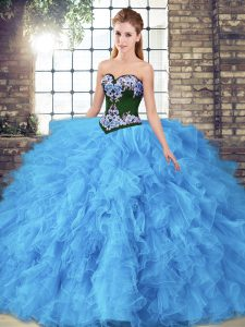 Ideal Sweetheart Sleeveless Tulle Vestidos de Quinceanera Beading and Embroidery Lace Up
