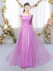 Comfortable Tulle Sleeveless Floor Length Quinceanera Court of Honor Dress and Lace