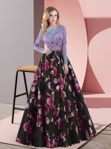 Fashion Long Sleeves Lace Up Floor Length Embroidery Prom Gown