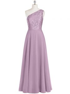 Artistic Purple Column/Sheath One Shoulder Sleeveless Chiffon Floor Length Zipper Lace Going Out Dresses