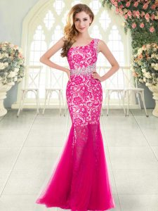 Hot Pink Sleeveless Floor Length Beading and Lace Zipper Evening Dresses