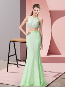 Affordable Apple Green Two Pieces Lace Halter Top Sleeveless Beading and Lace Floor Length Backless Dress for Prom