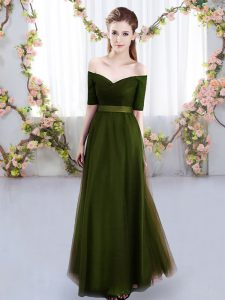 Extravagant Short Sleeves Tulle Floor Length Lace Up Dama Dress in Olive Green with Ruching