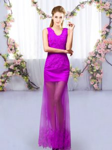 Floor Length Purple Quinceanera Dama Dress V-neck Sleeveless Lace Up