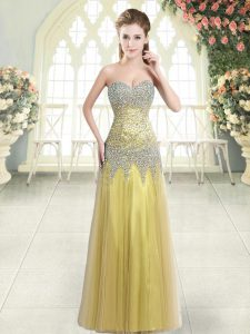 Excellent Gold Column/Sheath Sweetheart Sleeveless Tulle Floor Length Zipper Beading Homecoming Dress