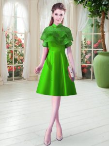 High-neck Cap Sleeves Prom Dresses Knee Length Ruffled Layers Green Satin