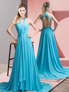 Shining Aqua Blue Halter Top Neckline Beading and Ruching Prom Evening Gown Sleeveless Backless