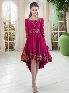 Fuchsia A-line Scoop Long Sleeves Satin High Low Lace Up Embroidery Evening Dress