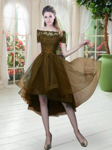 Brown A-line Off The Shoulder Short Sleeves Tulle High Low Lace Up Lace Prom Party Dress