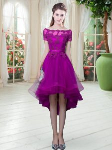 Short Sleeves High Low Appliques Lace Up Prom Evening Gown with Purple