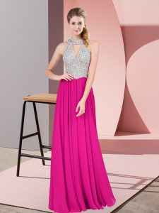 Fuchsia Chiffon Zipper Prom Evening Gown Sleeveless Floor Length Beading