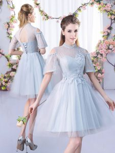 High-neck Short Sleeves Lace Up Bridesmaids Dress Grey Tulle