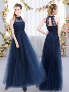Extravagant Navy Blue Sleeveless Appliques Floor Length Quinceanera Dama Dress