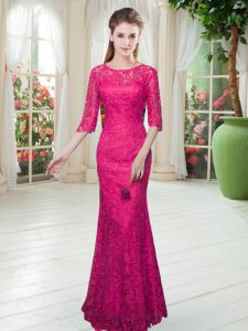 Lace Half Sleeves Floor Length and Lace