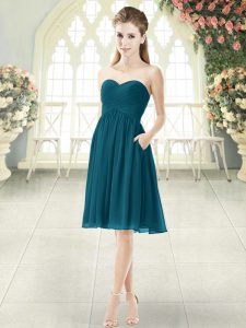 High Class Empire Prom Dresses Peacock Green Sweetheart Chiffon Sleeveless Knee Length Zipper