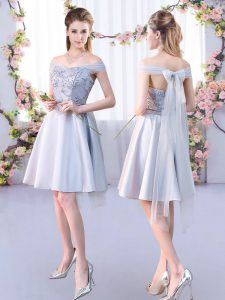 Knee Length A-line Sleeveless Silver Court Dresses for Sweet 16 Lace Up