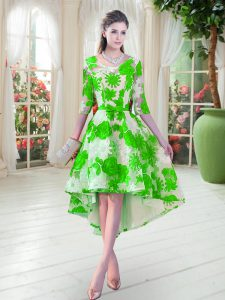 On Sale Green A-line Belt Dress for Prom Lace Up Lace Half Sleeves High Low