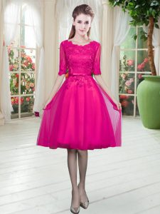Fuchsia Half Sleeves Tulle Lace Up Homecoming Dress for Prom and Party