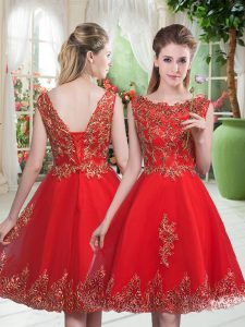 Knee Length Lace Up Prom Party Dress Red for Prom and Party with Beading and Appliques