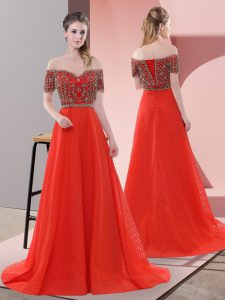 Modest Red Evening Gowns Prom and Party with Beading and Lace Off The Shoulder Short Sleeves Sweep Train Lace Up