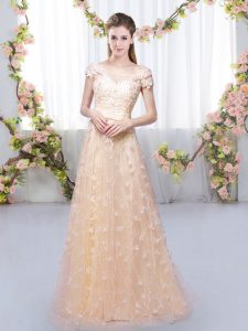 Peach Cap Sleeves Floor Length Appliques Lace Up Dama Dress for Quinceanera