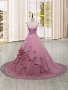 Pink Quinceanera Gowns Strapless Sleeveless Brush Train Lace Up