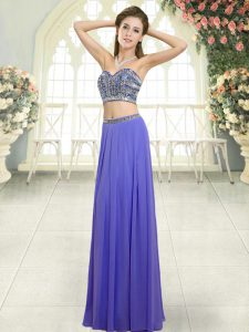 Latest Sweetheart Sleeveless Chiffon Prom Party Dress Beading Backless