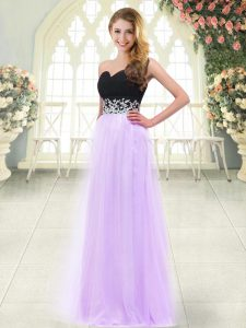 Hot Selling Lilac Empire Appliques Prom Dress Zipper Tulle Sleeveless Floor Length