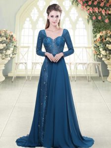 Blue Backless Sweetheart Beading and Lace Prom Party Dress Chiffon Long Sleeves Sweep Train