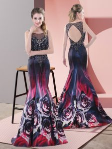 Adorable Beading Prom Gown Multi-color Backless Sleeveless Sweep Train