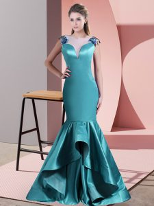 Edgy Teal Scoop Zipper Beading and Lace Prom Dress Sweep Train Sleeveless