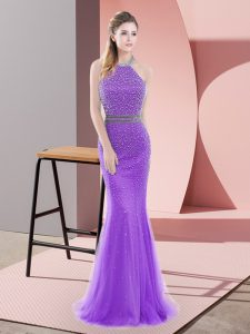 Flirting Purple Tulle Backless Prom Evening Gown Sleeveless Sweep Train Beading
