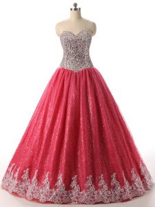 Nice Coral Red Lace Up Sweetheart Beading and Appliques Sweet 16 Dress Sequined Sleeveless