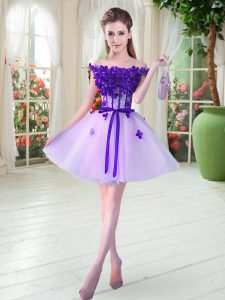 Exquisite Lavender Sleeveless Tulle Lace Up for Prom and Party