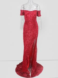Red Off The Shoulder Sequins Evening Dresses Short Sleeves Sweep Train