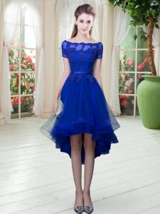 Romantic Off The Shoulder Short Sleeves Lace Up Prom Gown Royal Blue Tulle
