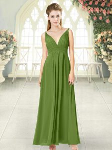 Ankle Length Backless Evening Dress Olive Green for Prom and Party with Ruching