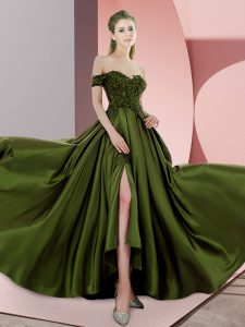 Clearance Olive Green Elastic Woven Satin Backless Evening Dress Sleeveless Sweep Train Beading