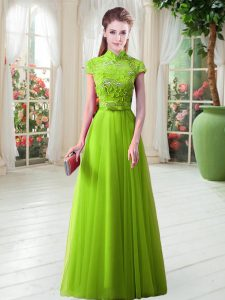 A-line Tulle High-neck Cap Sleeves Appliques Floor Length Lace Up