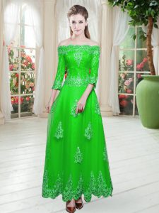 Lace Dress for Prom Green Lace Up 3 4 Length Sleeve Floor Length