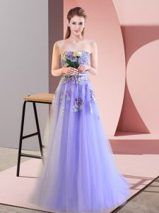 Inexpensive Floor Length Lavender Evening Dress Sweetheart Sleeveless Lace Up