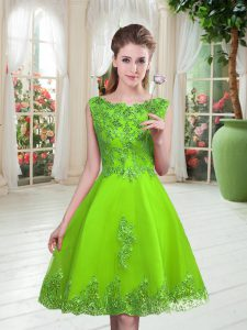 Scoop Lace Up Beading and Appliques Evening Dress Sleeveless