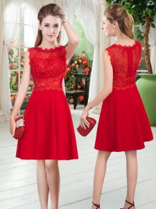Sweet Red Scalloped Neckline Lace Prom Dress Sleeveless Zipper