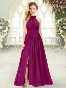 Ankle Length Zipper Prom Gown Burgundy for Prom and Party with Ruching