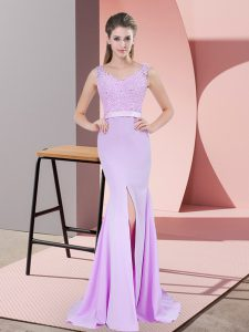Dazzling Lilac V-neck Sleeveless Sweep Train Zipper