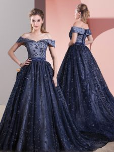 Fitting Navy Blue Prom and Party and Military Ball with Beading Off The Shoulder Sleeveless Court Train Lace Up
