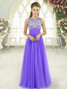 Dynamic Tulle Sleeveless Floor Length Prom Dresses and Beading