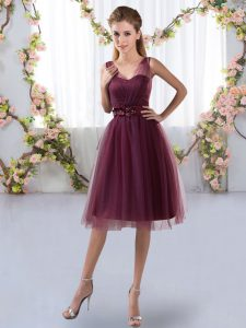 Appliques Wedding Party Dress Burgundy Zipper Sleeveless Knee Length