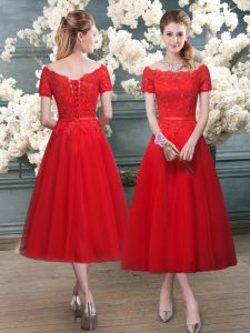Pretty Red Short Sleeves Lace Tea Length Prom Dress